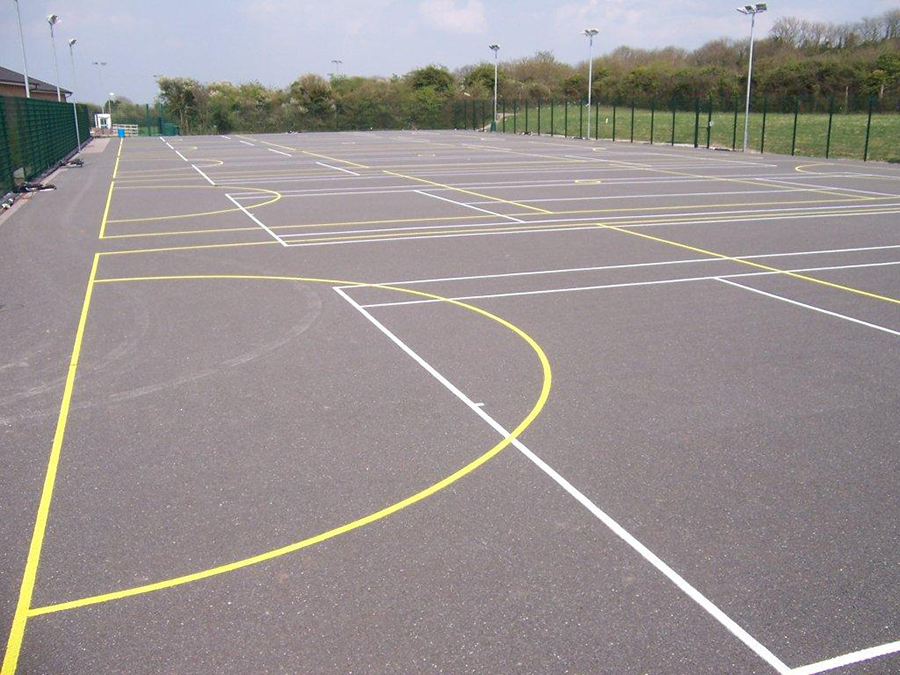 Netball court construction costs in porth y felin for Basketball court construction cost
